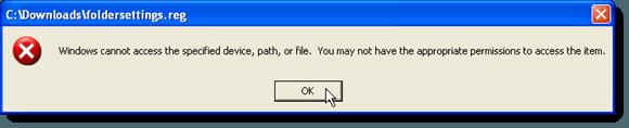Windows no puede acceder al cuadro de diálogo de error de archivo