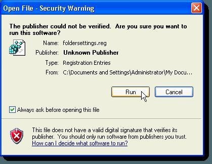 Cuadro de diálogo de advertencia de seguridad sobre el archivo folderettings.reg