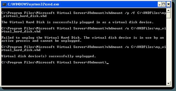 Archivo VHD desconectado correctamente