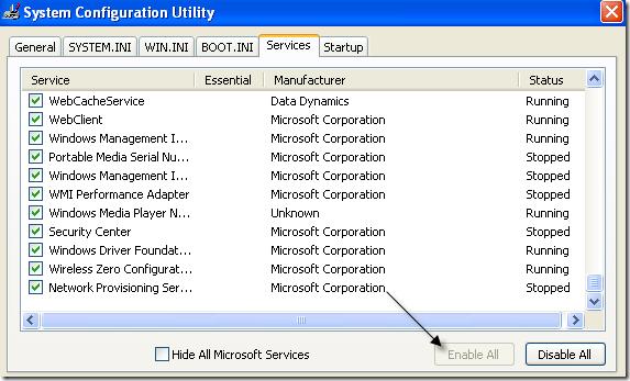 habilitar todos los servicios de Windows