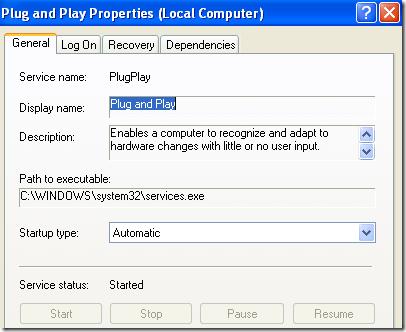 servicio de windows plug and play