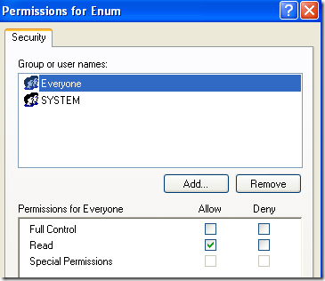 permisos de registro enum
