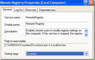 deshabilitar los servicios de Windows