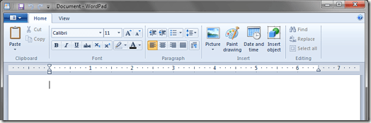 Cinta de WordPad Windows 7