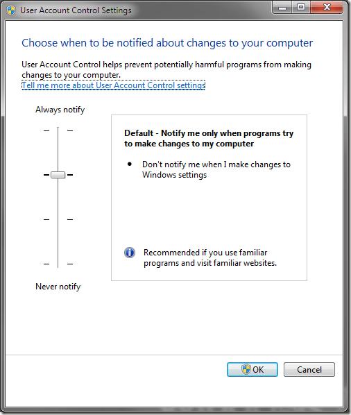 Configuración de control de cuentas de usuario (UAC) de Windows 7