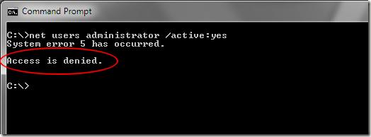 El acceso a Windows 7 está denegado