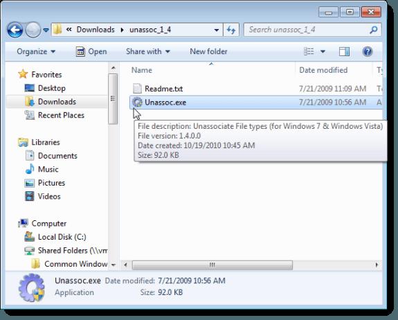 Abrir tipos de archivos no asociados