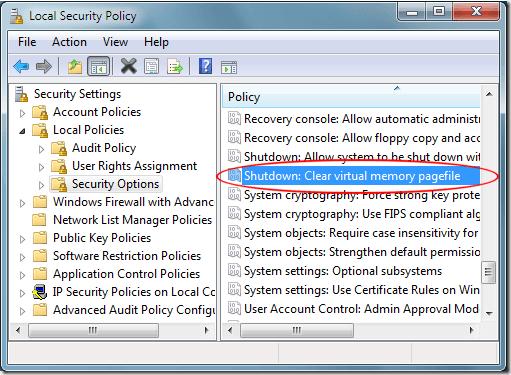 Apagar Windows 7 Borrar archivo de paginación de memoria virtual