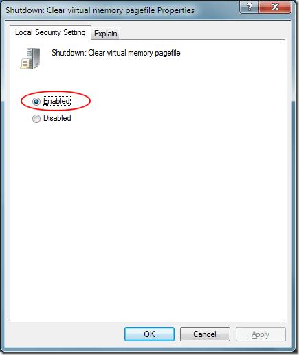 Windows 7 Shutdown Clear Virtual Memory Pagefile Properties