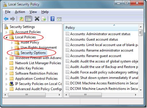 Opciones de seguridad de las políticas locales de Windows 7