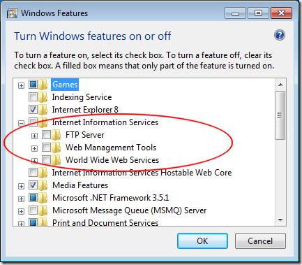 Activar los servicios de información de Internet en Windows 7