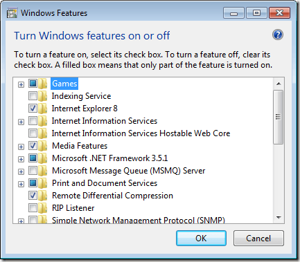 Ventana de características de Windows