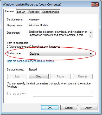 Establecer el tipo de inicio en el servicio de actualización de Windows 7