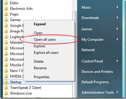 Haga clic en Abrir todos los usuarios en la carpeta de inicio