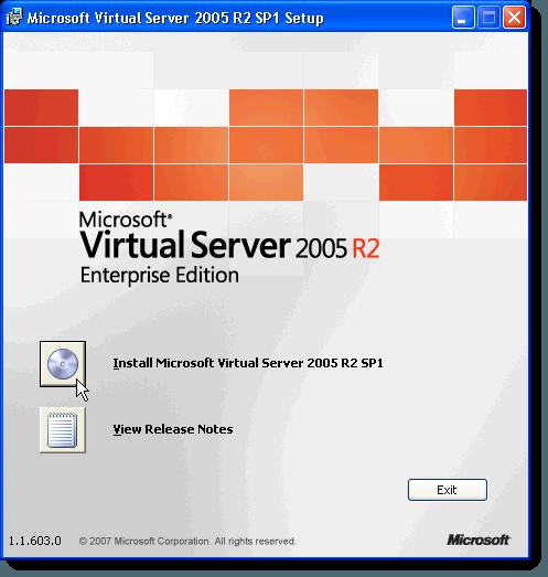 Pantalla de configuración inicial de MS Virtual Server