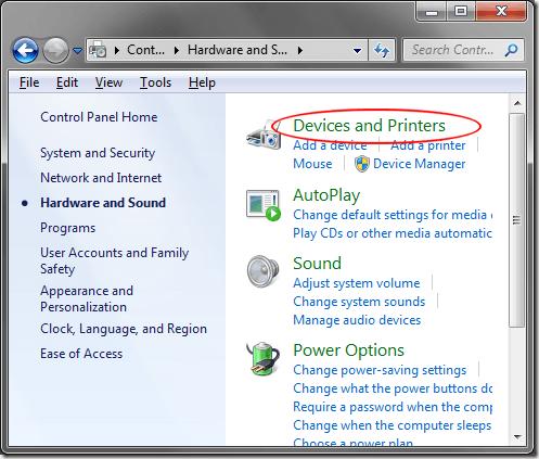 Dispositivos e impresoras con Windows 7