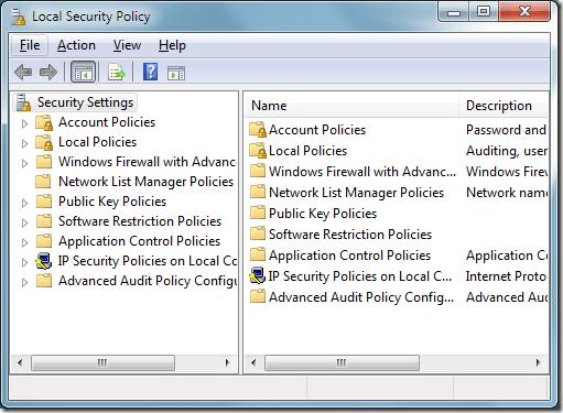 Política de seguridad local de Windows 7
